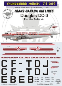 TM72-009 Trans-Canada-Airlines-Douglas-dc-3 Instructions and Decal