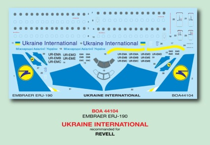 BOA144-104 Ukraine International ERJ190 Decal;