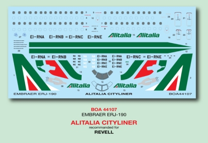 BOA44-107Alitalia Emb190 Decal-W