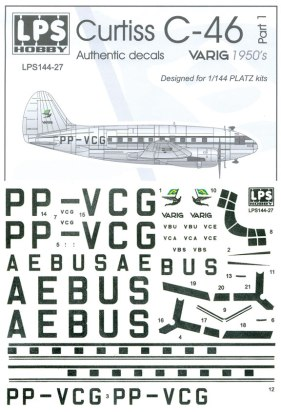 LPS144-027-Varig-1950-Curtiss-C46-Instructions-and-Decal-88-W