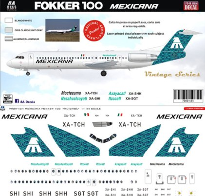 8A-434-Mexicana-green-Fokker-100-Profile-and-Decal-812-W