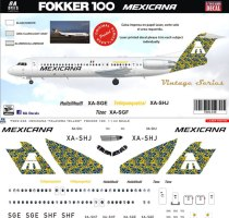8A-436-Mexicana-yellow-Fokker-100-Profile-and-Decal-812-W
