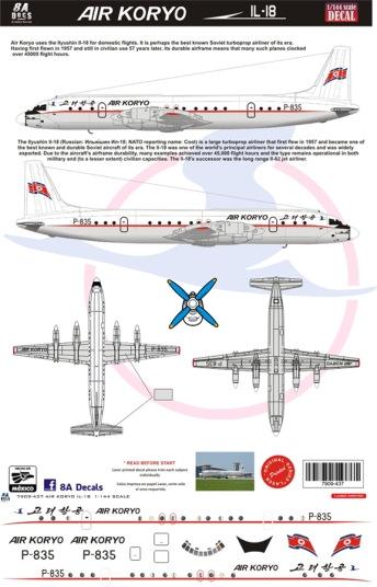 8A-437 Air Koryo Ilyushin 18 Profile and Decal-W