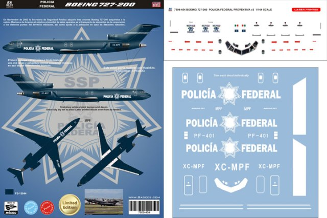 8A-454-Policia-Federale-B727-200-Profile-and-Decal-812-W