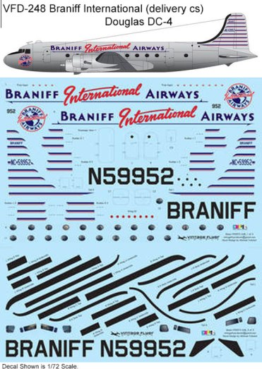 VFD-248-Braniff-International-delivery-cs-Douglas-DC-4-Profile-and-Decal-812-W