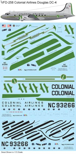 VFD-258-Colonial-Airlines-Douglas-DC-4-Profile-and-Decal-812-W