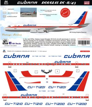 8A-474-Cubana-Douglas-DC-8-43-Instructions-and-Decal-812-W
