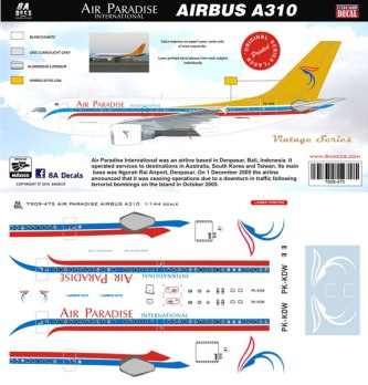 8A-475-Air-Paradise-Airbus-A310-Instructions-and-Decal-812-W