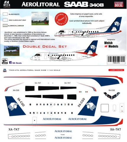 8A-476-Aerolitoral-Saab-340B-Instructions-and-Decal-812-W
