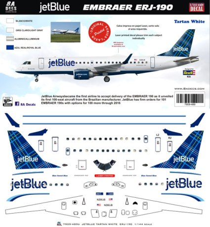 8A-489-TW-JetBlue-Embraer-190-Tartan-White-Profile-and-Decal-812-W