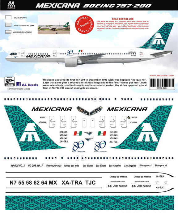 8a-528-Mexicana-B757-200-Profile-and-Decal-812-W