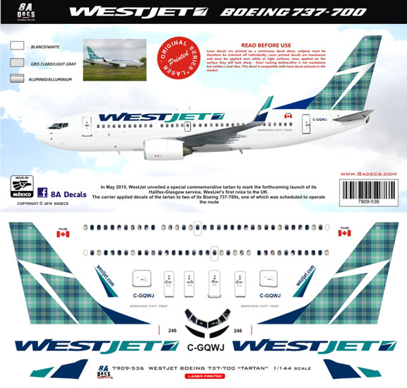 8A-536-WestJet-Tartan-B737-700-Instructions-and-Decal-812-W
