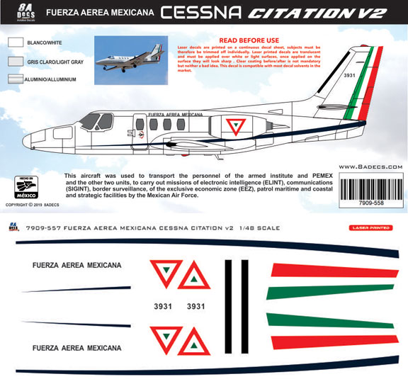 8A-558-FA-Mexicana-Cessna-500-Citation-1-Profile-and-Decal-812-W