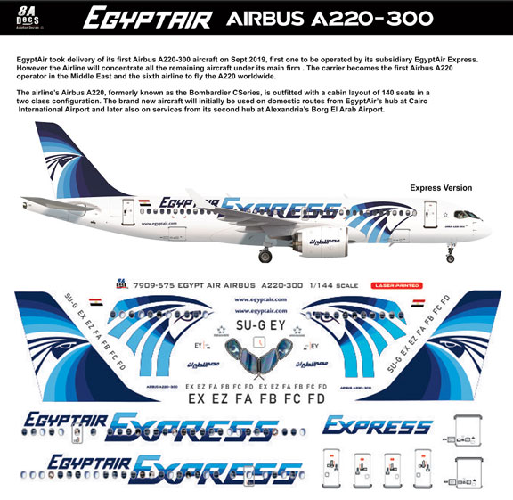8A-575-EE-Egyptair-Express-A220-Instructions-and-Decal-812-W