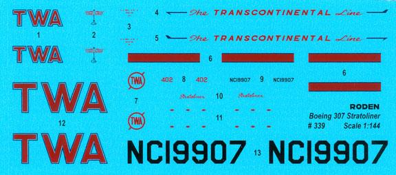 ROD339-B307-Stratoliner-TWA-Decal-812-W