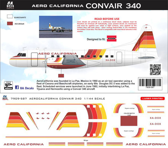 8A-587-AeroCalifornia-Cv340-Instructions-and-Decal-812-W