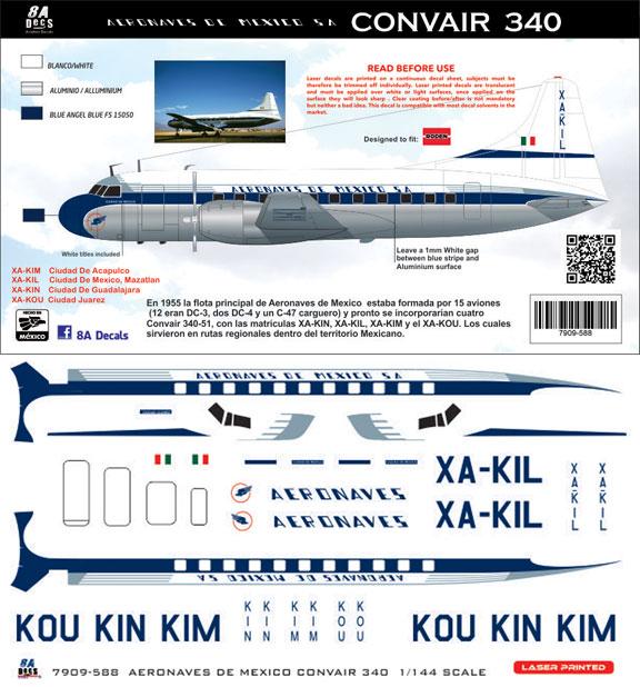 8A-588-Aerobaves-de-Mexico-Cv340-Instructions-and-Decal-812-W