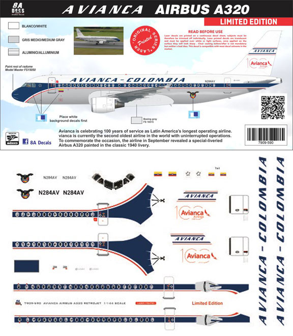 8A-590-Avianca-retro-A320-Instructions-and-Decal-812-W