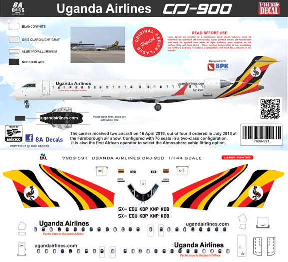 8A-591-Uganda-Airlines-CRJ900-Instructions-and-Decal-812-W
