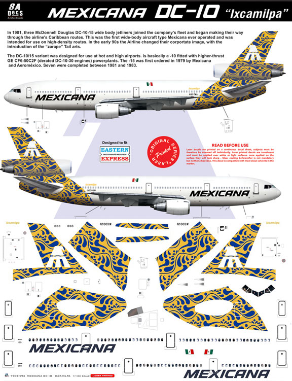 8A-593-Mexicana-(gold-cs)-McDD-DC-10-Instructions-and-Decal-812-W