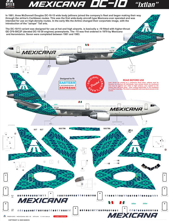 8A-593-Mexicana-(green-cs)-McDD-DC-10-Instructions-and-Decal-812-W