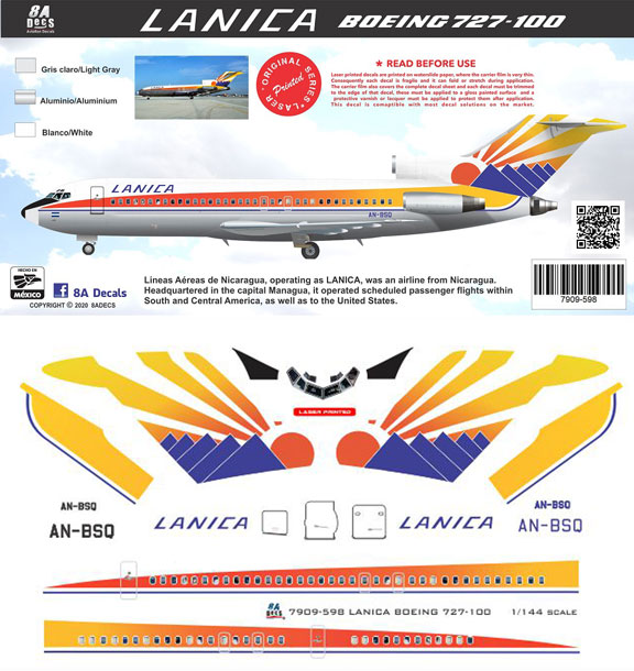 8A598-Lanica-B727-100-Profile-asnd-Decal-812-W