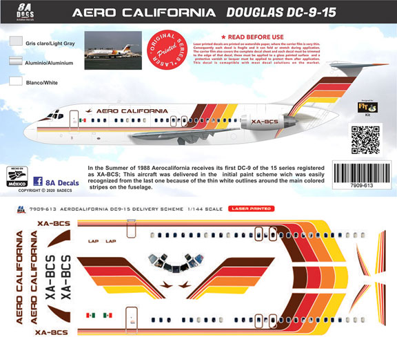 8A-613-AeroCalifornia-DC-9-15-Instructions-and-Decal-812-W