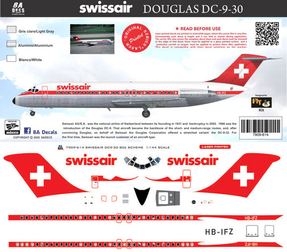 8A-614-Swissair-DC-9-30-Instructions-and-Decal-812-W