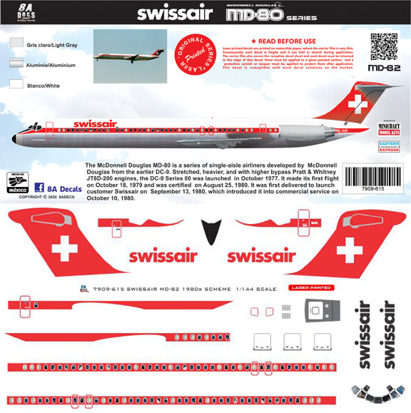 8A-615-Swissair-McDD-MD80-Instructions-and-Decal-812-W