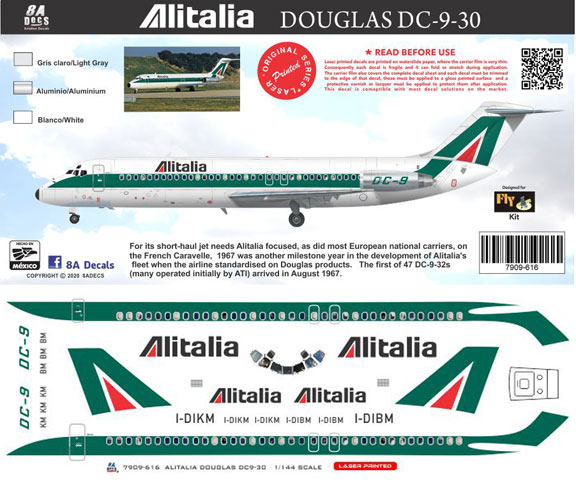 8A-616-Alitalia-Douglas-DC-9-30-Instructions-and-Decal-812-W