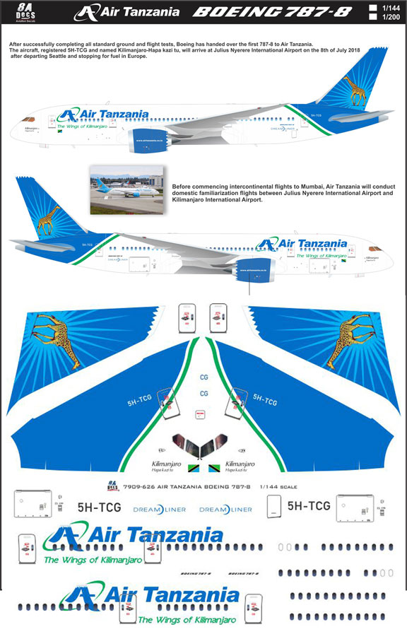 8A-626-Air-Tanzania-Boeing-787-8-Instructions-and-Decal-812-W
